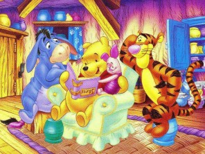 Disney-Winnie-Pooh-and-friends-studying-story-book-Wallpapers-2010