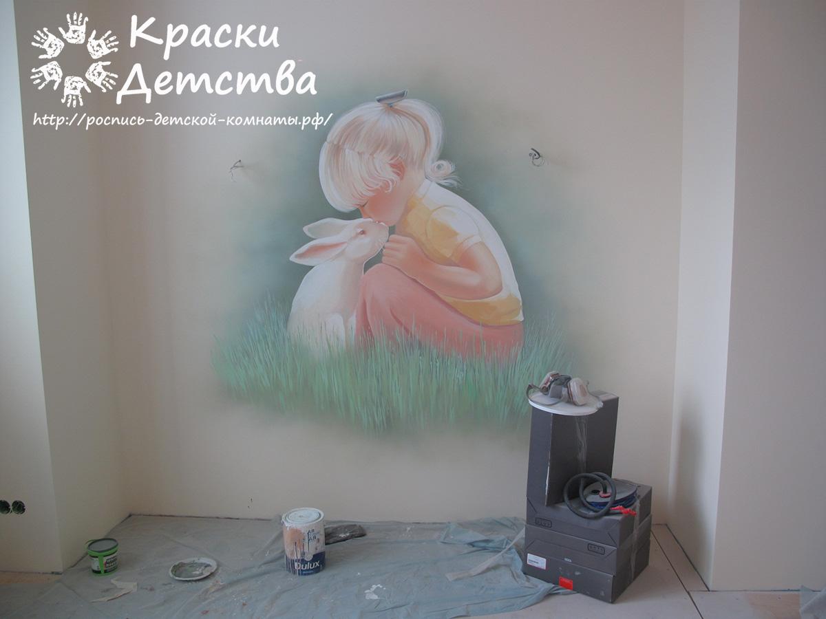 Ангельский дизайн детской комнаты для девочки
